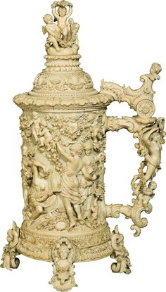 A large ivory tankard, attributed to Jakob Heinle, Baden-Baden, late century Sculpture Art, Sculptures, Mugs And Jugs, German Beer Steins, Clock Decor, Bacchus, Beer Mugs, Wine And Spirits, Amazing Art