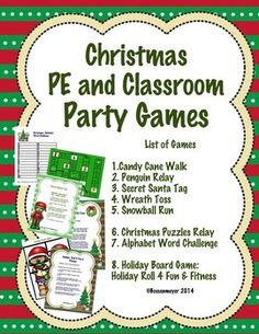Christmas PE and Classroom Party Games Backyard Party Games, Elementary Pe, Pe Activities, Alphabet Words, Word Challenge, Holiday Games, Christmas Games, Outdoor Christmas, Christmas Decorations