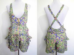 Spring Sale: floral jumper shorts or romper (Size 5; small to medium) by VintageHomage