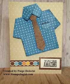 Paige Dolecki - Stampologist: Sneak Peek - Artiste Shirt Card for Cards for the Guys in our Lives Class - Friday, June Greeting Cards, Men's Cards, Gift Cards, Artist Project, Bday Cards, Scrapbook Cards, Scrapbooking, Cricut Cartridges, Cricut Cards