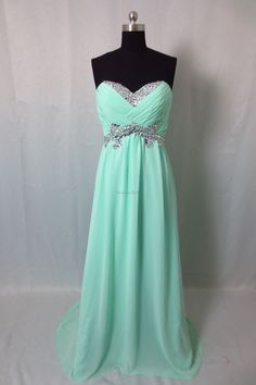 Best Prom Dresses 2013 Sheath Sweetheart Sweep Brush Chiffon Mint Prom Dress store online with fashion formal gowns affordable