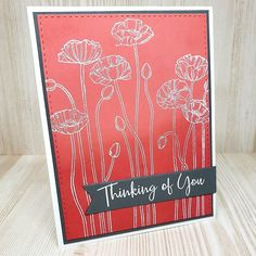 The color combo of coral and gray makes my heart go pitter-patter 💕 This simple card resurrects an old Stampin Up stamp set, heat embossed on a background of blended Distress Inks.  .  .  .  #handmade #stampinup #timholtz #papercrafts #handmadecards