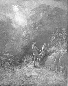 "Gustave Dore - Illustration to Paradise Lost by John Milton - 35 - ""So parted they, the Angel up to Heav'n From the thick shade, and Adam to his Bowre."""