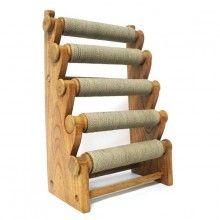 Présentoir à bracelets 5 rouleaux en bois et rotin - 45 cm