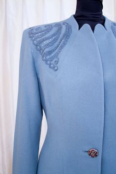 1940's Soutache Trimmed Blue Wool Suit by GarbOhVintage on Etsy
