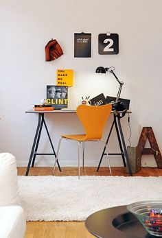 Scandinavian home office with orange chair and desk and desk lamp : Scandinavian Home Office Design. scandinavian design home office,scandinavian home office decor,scandinavian style home office,swedish home office design,swedish style home office Workspace Design, Office Workspace, Home Office Design, Office Decor, House Design, Office Ideas, Design Design, Swiss Design, Design Ideas