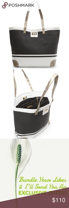 """Thursday Friday Black and White Toe Tote This spacious tote combines a sleek design with a refined silhouette. Its the perfect everyday accessory with enough room for your daily essentials and more. The elegant snap enclosure comes finished with durable handles and polished hardware. Size: 12.75""""H x 18.5""""W x 6""""D. 4 inner patch pockets, 1 pocket with zipper. gold turn catch closure. Double handles with 9"""" drop. Studded feet on the bottom. 100% cotton canvas. Lined. Thursday Friday Bags Totes"""