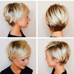 Longer short blonde hair cut.