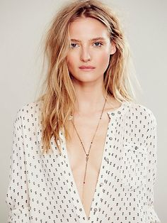 Printed Deep V Boyfriend Shirt, but really I'm obsessed with her hair.