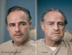 Vito Corleone Antes e deopis da maquiagem