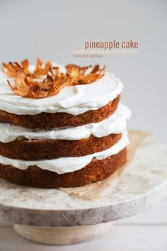 Pineapple Cake with pineapple jam and whipped cream