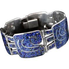 """Margot de Taxco Confetti Enamel """"Noble"""" Mexican Sterling Silver Bracelet"""
