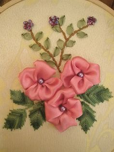 Wonderful Ribbon Embroidery Flowers by Hand Ideas. Enchanting Ribbon Embroidery Flowers by Hand Ideas. Ribbon Art, Diy Ribbon, Ribbon Crafts, Flower Crafts, Ribbon Flower, Types Of Embroidery, Learn Embroidery, Embroidery Designs, Embroidery Stitches