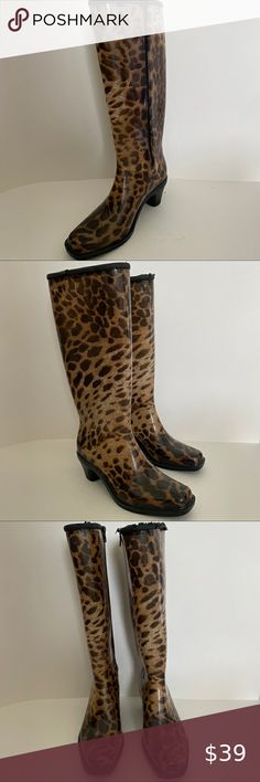 """Dav High Heel Zip Sides Rubber Rain Boots 