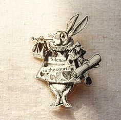 alice in wonderland white rabbit | ALicE in WoNdErLaNd PiN/BrOOcH ThE WhiTE RaBBiT by CraftyJewells https://www.facebook.com/pages/Down-The-Rabbit-Hole/193819684026265?hc_location=timeline