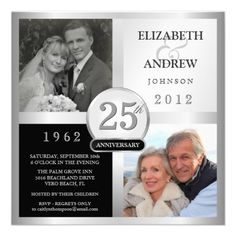 Champagne Glasses 25th Wedding Anniversary Card