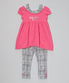 Another great find on #zulily! Pink Layered Tunic & Leggings - Infant, Toddler & Girls by Calvin Klein Jeans #zulilyfinds
