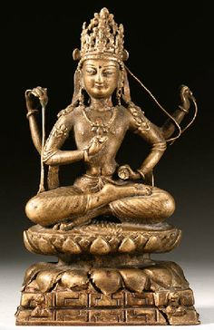 century, Swat Valley, Avalokiteshvara chaturbhuja sitting on a double lotus base over a rocky formation, copper alloy with silver and copper inlay, private collection. Tibetan Art, Tibetan Buddhism, Buddhist Art, Buddha Peace, Buddhist Traditions, Guanyin, Religious Icons, Sacred Art, Pakistan