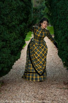 1883-85 walking bustle dress in plaid wool by PRIOR ATTIRE