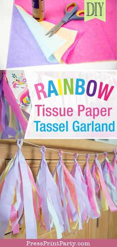 TASSEL GARLAND DIY: Learn how to make a rainbow tassel garland with multicolored tissue paper for your unicorn party. Quick and cheap tutorial. Makes great wall decor and birthday party decorations. Colors can be adapted for a mermaid party, princess party or baby shower. By Press Print Party #tissue #partyideas #partydecor #unicorn