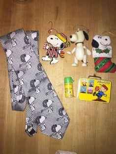 Vintage Peanuts Snoopy Lot Ornaments,Red Baron Tie Mini Lunch Box Thermos  | eBay