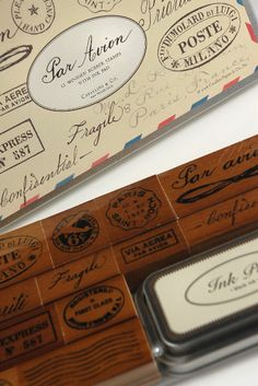Vintage Par Avion Rubber Stamp Set by Cavallini & Co.12 wood mounted rubber stamps in tin box $19