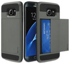 Samsung Galaxy S7 Edge, Bastex Hybrid Silver Hidden Credit Card Case