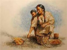 A painting of Sacagawea and son Pomp.