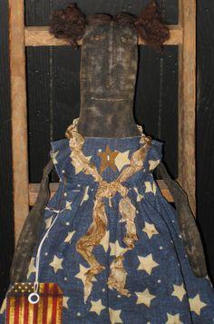 PRIMITIVE Black Folk Art Doll Americana #BlackFolkArt #artist