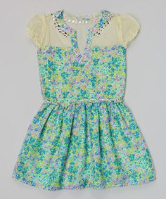 Look at this #zulilyfind! Blue Floral Puff-Sleeve Dress - Toddler & Girls by Peace of Cake #zulilyfinds