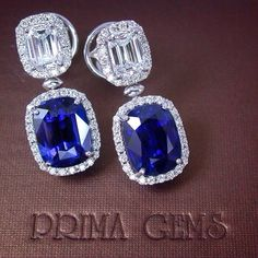 These 14.41 ct Royal Blue Sapphire Cushion Cut Earrings are classic and sophisticated with Emerald Cut Diamonds #PrimaGems#bluesapphire #diamond #earrings #finejewelry #jewelry