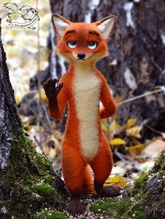 Made to order! Each new toys will be different, not like the previous one, with its own unique character. Nick Wilde is a character from Disneys animated movie Zootopia. The fox was felted around a wire armature which makes it fully posable. The nose, claws, cushions on the paws