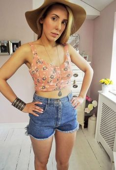 50 s style coral FLORAL pin up Button Cropped Summer top Vest L 12