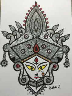 Artwork By Radhika Sheshadri Mandala Art Lesson, Mandala Artwork, Madhubani Art, Madhubani Painting, Doodle Art Drawing, Mandala Drawing, Durga Painting, Durga Maa Paintings, Kalamkari Painting