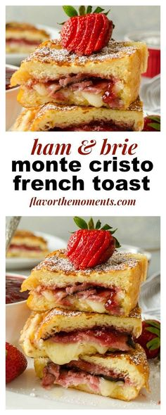 Ham and Brie Monte Cristo French Toast is a Monte Cristo sandwich with a french . - Ham and Brie Monte Cristo French Toast is a Monte Cristo sandwich with a french toast twist! Breakfast Sandwich Recipes, Sandwich Bar, Breakfast Toast, Savory Breakfast, Breakfast Casserole, Brunch Recipes, Breakfast Ideas, Sandwich Ideas, Sunday Breakfast