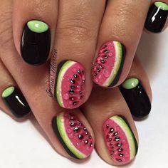 Amazing watermelon nails from @nails_irinamarten