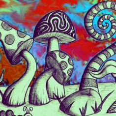 I love the triply mushroom art! Mushroom Drawing, Mushroom Art, Trippy Painting, Painting & Drawing, Trippy Drawings, Art Drawings, Psychedelic Art, Trippy Mushrooms, Posca Art