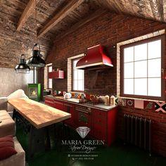 The Loft-style attic design – Maria Green – Interior Designer Attic Apartment, Apartment Interior, Luxury Interior, Interior Design, Green Palette, Gable Roof, Attic Design, Loft Style, Industrial Chic