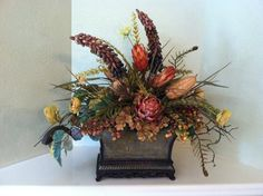 Custom Silk Floral Arrangement - Large Table Centerpiece by Greatwood Floral Designs.