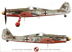 The distinctively marked Fw 190 D-9s of JV 44