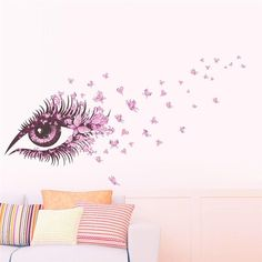 Cheap Wall Stickers, Buy Directly from China Suppliers:Charming Fairy Girl Eye Wall Sticker For Kids Rooms Flower butterfly LOVE heart Wall Decal Bedroom Sofa Decoration Wall Art Girls Wall Stickers, Removable Wall Stickers, Wall Stickers Home, Wall Stickers Murals, Mural Wall, Eye Stickers, Living Room Murals, Bedroom Murals, Bedroom Sofa