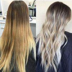 ❤️ a good before and after. Color by @beautybybradi  #hair #hairenvy #haircolor #beforeandafter #makeover #blonde #balayage #highlights #newandnow #inspiration #maneinterest