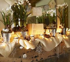 mix mercury glass with paperwhites and candles for an elegant and glam Christmas look