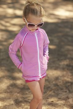c11a83ae11d Girls Full Zip Water Jacket. Sun Protective ClothingPink ...