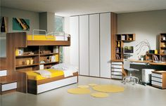 Chambres enfants avec armoire avec portes laquées, - Kids Bedroom 2