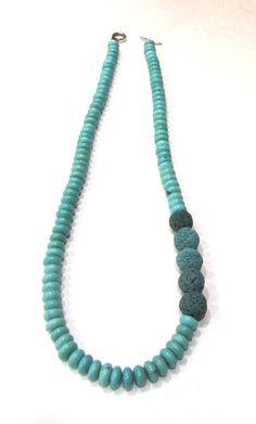 Lava stone & turquoise magnesite necklace-Handmade necklace-Volcanic lava-Santorini lava-Howlite stone-Natural stones-Organic-Eco friendly