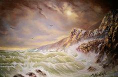(c) Stormy Sea by Marwan Kishek. Oil on canvas 24 Seascape Paintings, Oil Paintings, Stormy Sea, Crashing Waves, Ocean Art, Oil On Canvas, Coastal, Scene, Fine Art
