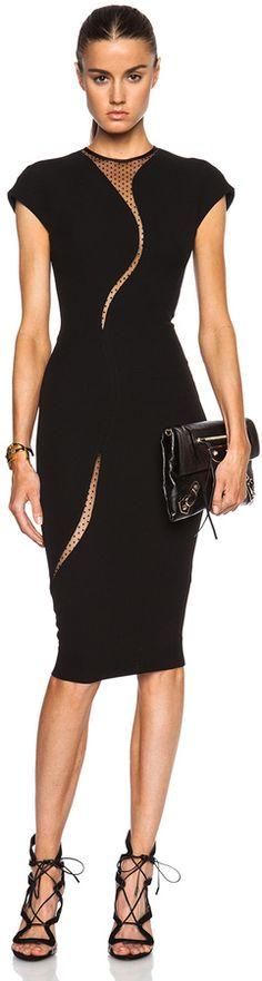 Victoria Beckham Cap Sleeve Insert Dress