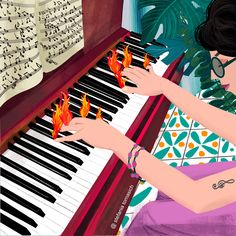 I can only imagine the passion for playing a musical instrument, this is how I imagine it ... #music #musicpassion #playingpiano #illustration Playing Piano, Musicals, Passion, Artwork, Art Work, Work Of Art, Auguste Rodin Artwork, Musical Theatre