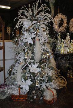White Christmas tree decorations.  Christmas 2013
